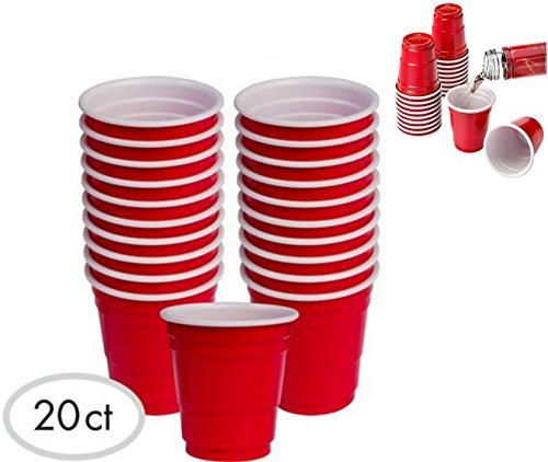20pc ALAZCO Red Cup Mini Party Shot Glasses Set 2-Ounce Fun BBQ Picnic Christmas Holiday Tailgate Super Bowl Party (Red Solo Shot Cups)