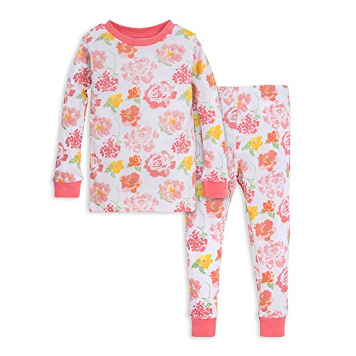 Burt's Bees Baby Unisex Baby Pajamas, Tee and Pant 2-Piece PJ Set, 100% Organic Cotton, Pink Rosy Spring, 4 Toddler