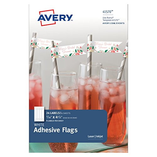 - Avery White Adhesive Flags, 7/10 x 4-1/2 Inches, Pack of 24 Flags (41570)