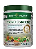 Triple Greens Powder | Purity Products | 9 Servings Of Greens In Every Scoop | 3 Grams of Fiber & 2 Grams of Flax Powder | 364.8g/12.86oz – 30 Servings For Sale