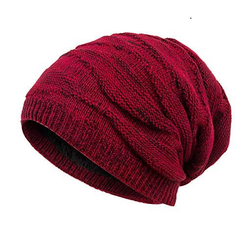 (Mens Winter Plus Velvet Warm Knitting Hats Wool Baggy Slouchy Beanie Hat Skull Cap Ski Cap)