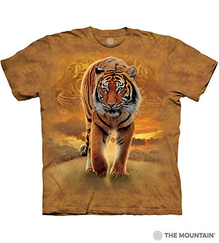 The Mountain Rising Sun Tiger Adult T-Shirt, Gold, Small