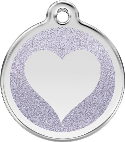 Red Dingo Stainless Steel & Glitter Enamel Heart Dog ID Tag (Silver, Large) by Red Dingo