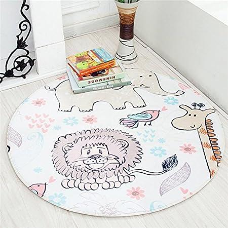 lfombra redonda para niños, lavable con diseño de animales, el gimnasio,alfombra antideslizante para el cuarto del bebé, alfombra redonda Animal Town Talla:Dia-90cm