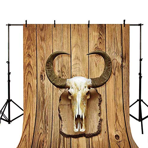 Western Stylish Backdrop,Buffalo Bull Skull with Horns Hanging on Rustic Wooden Plank Image Print for Photography,59