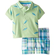 Blueberi Boulevard Baby Boys' 2 Piece Alligator Plaid Short Set, Lime, 6 9 Months