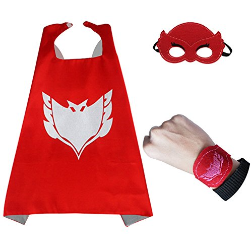 [3pcs/set PJ Masks Cloak Cape and Mask Owlette Catboy Gecko Cosplay Action Toys For Children (Red)] (Girl Superhero Costumes Walmart)