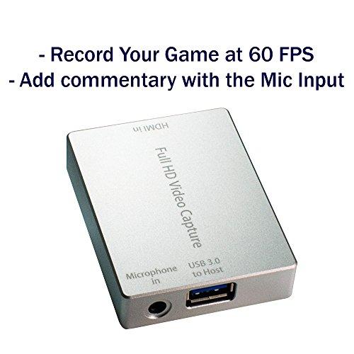 HornetTek HDMI Video Capture Device / Video Game Recorder with Mic Input USB 3.0 1080P 60 FPS Video & Audio Grabber by HornetTek