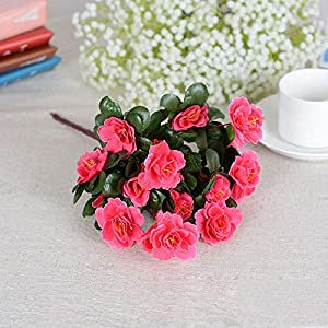 Lhoste Silk Fake Leaf Azalea Artificial Flowers Floral Bouquet for Wedding Party Home Decoration - Rose red 94