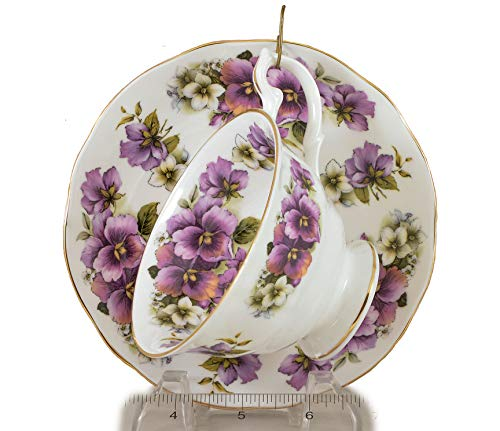 PURPLE PANSY Pedestal Tea Cup and Saucer Fine English Bone China Made in England