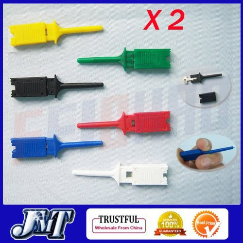 TOPS TECHNOLOGY™ 12pcs 6colors Small SMD Ic Hook Clip Grabbers Test Probe Cable for Multimeter