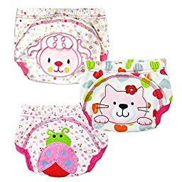 Collager 3 Pcs Baby Baby Kids Potty Training Pants Washable Cloth Diaper (100, Girl)