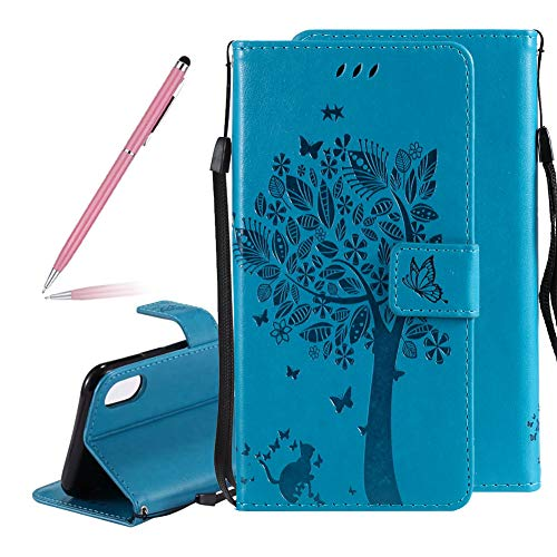 3D Vintage Embossed Love Tree Cat Butterfly Pattern PU Leather Flip Wallet Case for iPhone Xs,SKYXD Creative Embossing Floral Flower Shockproof Bookstyle Purse Cover Magnetic Clasp for iPhone X(Blue)