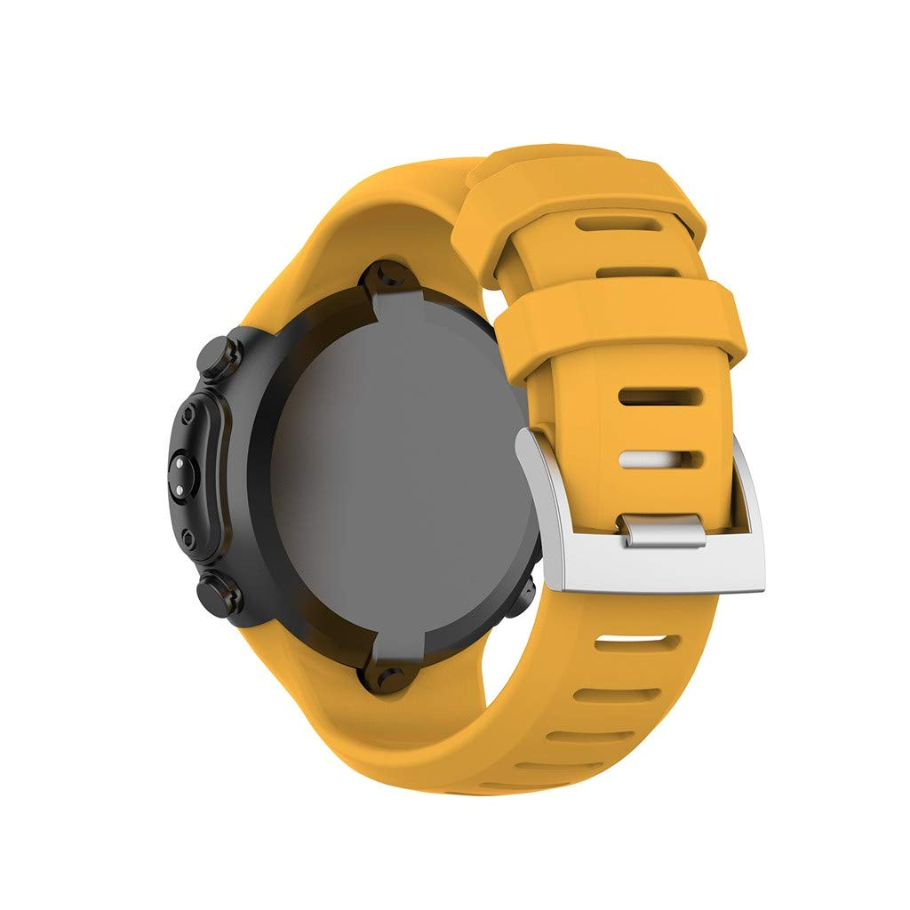 For Suunto D6 Dive, D6I Novo/Zulu Soft Silicone Band, HHoo Stylish Delicate Replacement Watch Wrist Strap with Steel Buckle and Elegant Looking. (Yellow)
