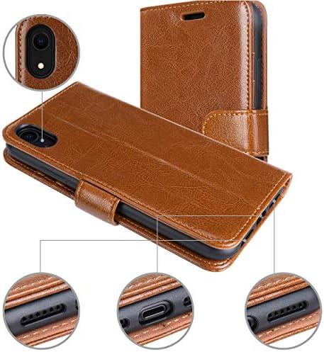 Jisoncase iphone XR ケース 手帳型 サイドマグネット アイフォン XR ケース 本革 レザー スタンド機能付き Qi充電対応 財布型 カード収納 衝撃吸収 全面保護 6.1インチ シンプル 無地(ブラウン)