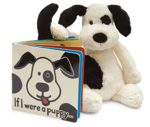 Jellycat If I Were a Puppy Board Book and Bashful Black and Cream Puppy, Medium - 12 inches by Jellycat