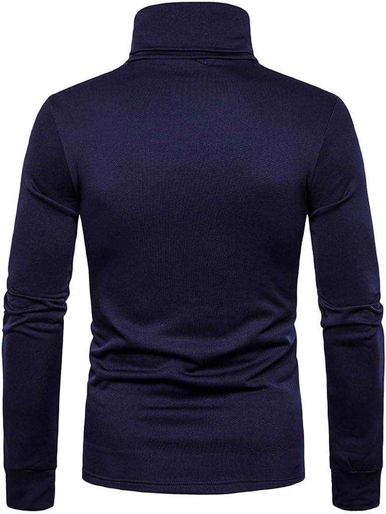 Luckycat Camiseta con Cuello Alto Slim Fit para Hombre Camiseta de Manga Larga para Hombre Regular Camisa Ocio Color Sólido La Moda Blusa Superior Retro Básico Camisas 2019 Nuevo: Amazon.es: Ropa y