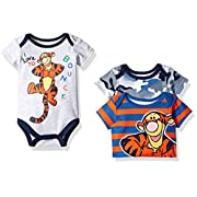 Disney Baby Boys' 3 Pack of Tigger Bodysuits, Gray, 3/6 Months