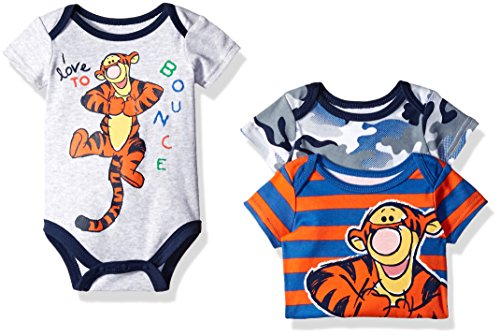 Disney Baby Boys' 3 Pack of Tigger Bodysuits, Gray, 6/9 Months (Baby Tigger)