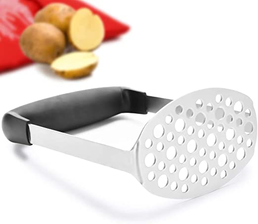 Silver Sorted Stainless Steel Masher with Black Soft Grip Handle