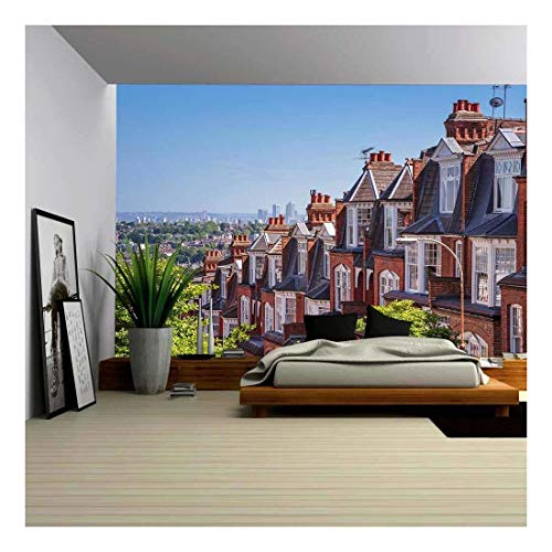 (wall26 - Brick Houses of Muswell Hill and Panorama of London with Canary Wharf, London, UK - Removable Wall Mural   Self-Adhesive Large Wallpaper - 66x96 inches)