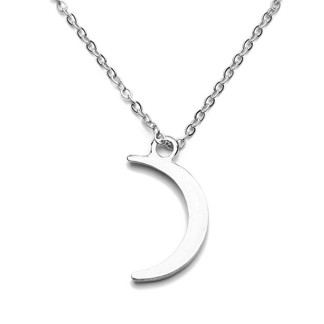VWH Women Girls Simple Moon Stars Pendant Necklace Short Necklace Clavicle Necklace (sliver)