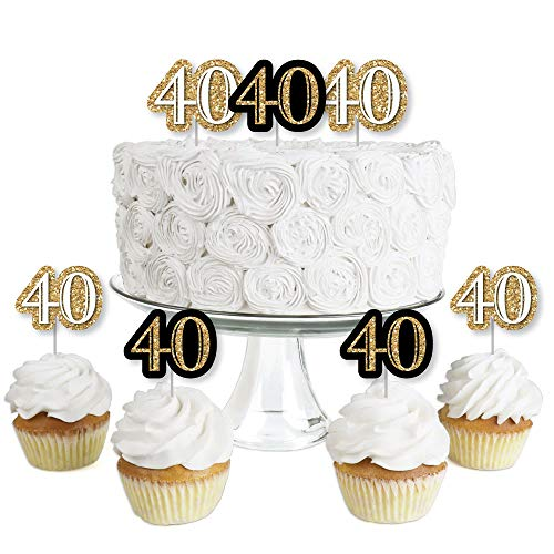 Adult 40th Birthday - Gold - Dessert Cupcake Toppers - Birthday Party Clear Treat Picks - Set of 24 ()