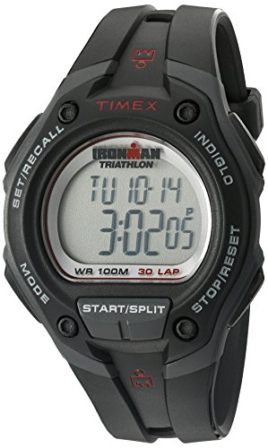 Timex Men's T5K417 Ironman Classic 30 Oversized Black/Gray/Red Resin Strap Watch (Strap Black Resin)