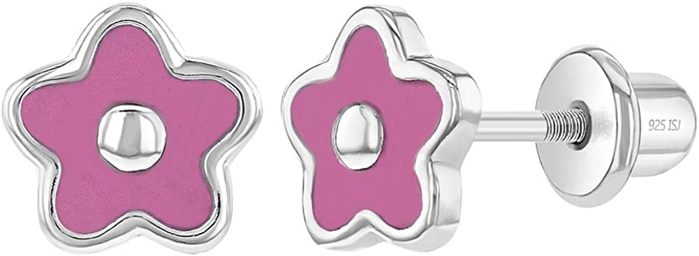 In Season Jewelry - 925 Plata de Ley Esmalte Rosa Aretes de Flor con Cierre de Rosca para Niñas 6mm