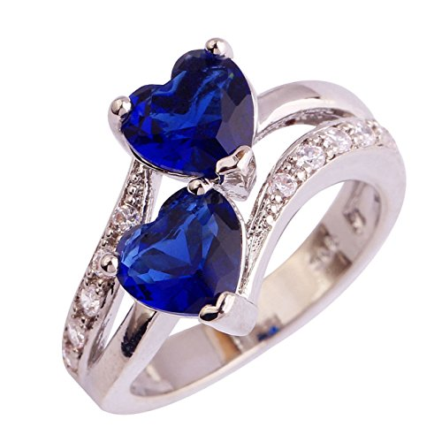 Emsione 925 Sterling Silver Heart Sapphire & Topaz Womens Ring (Silver Modern Heart)