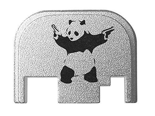 for Glock Back Plate Gen 1-4 17 19 21 22 23 27 30 34 36 41 Silver NDZ - Panda with Guns