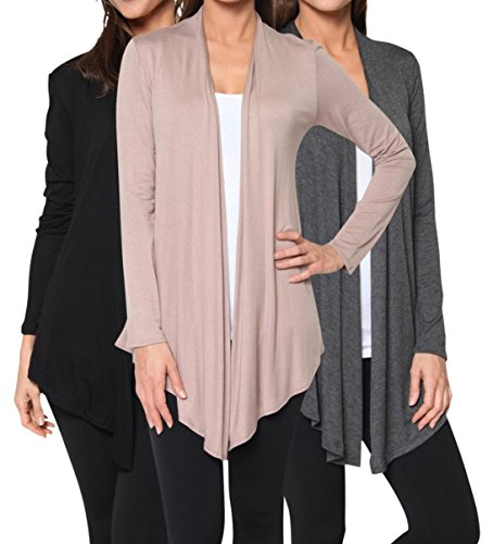 Free to Live Women's 3 Pack Light Weight Open Front Cardigans (Black, Charcoal, Mocha),X-Large