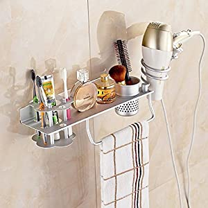 lovely Alumimum Hair Dryer Holder Bathroom Sundries Organizer Towel Rack Multifunction Stand