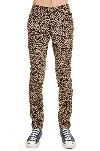 Mens Indie Hipster Punk Rock Leopard Stretch Skinny Jeans (Mens Print Pants Leopard)