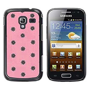 YOYOYO Smartphone Protección Defender Duro Negro Funda Imagen Diseño Carcasa Tapa Case Skin Cover Para Samsung Galaxy Ace 2 I8160 Ace II X S7560M - rosa retro vintage papel tapiz floral negro