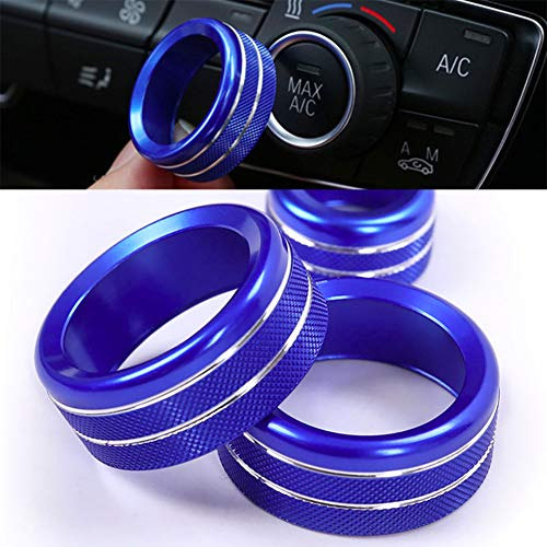 Car Styling Air Conditioning Knobs Audio Circle Trim Alloy Accessory for BMW 1 2 3 4 Series F30 F34 F46 GT X1 F47 F48 2013-18 (Blue)