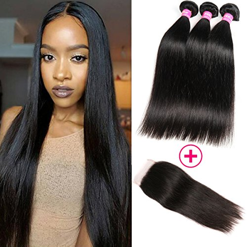 VRBest Hair Brazilian Straight Hair Extensions 3 Bundles with Lace Closure 8A Virgin Human Hair Bundles 100% Unprocessed Hair Weaves Natural Color with 4x4 Free Closure(18 20 22 +16)