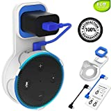 Echo Dot Wall Mount - Echo Dot Accessories - Echo Dot Holder - Alexa Holder - Echo Dot Outlet - Station Wall Case Stand Hanger Bracket Plate - for Echo Dot 2nd Generation - with Black & Blue Cables