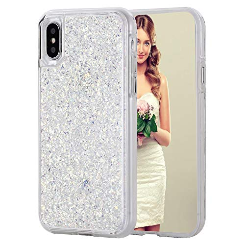 iPhone 11 Pro Max Case, Inkomo Women Luxury Fashion Glitter Shells Foil Sparkle Hard Back Cover with Clear TPU Bumper Protective Phone Bling Case for Apple iPhone 11 Max Pro 6.5'' 2019 (White/Gold)