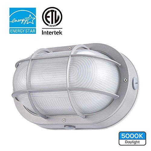 Large Aluminum Round Lighting Bulkhead (LEONLITE LED Marine Oval Bulkhead Light, 20W (120W Equivalent), Energy Star, 5000K Daylight White Outdoor Wall Light, 5 Years Warranty)