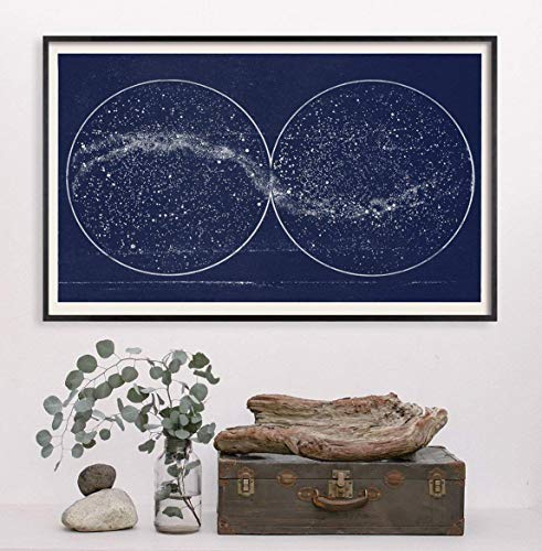 Double Constellation Hemisphere Map Print | MIlky Way Star Map Celestial Art