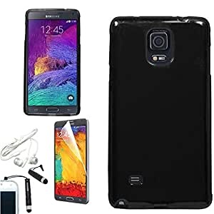 [ARENA] BLACK TPU RUBBER CANDY SKIN COVER SOFT GEL CASE for SAMSUNG GALAXY NOTE 4 + FREE ARENA ACCESSORIES