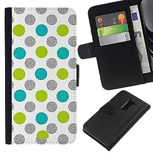 A-type (Dot Green Silver Sparkle White Glitter) Colorida Impresión Funda Cuero Monedero Caja Bolsa Cubierta Caja Piel Card Slots Para LG G2 D800