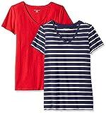 Amazon Essentials Women's 2-Pack Short-Sleeve V-Neck Patterned T-Shirt, Navy Mariner Stripe/red, Medium