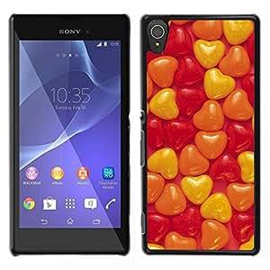 Caucho caso de Shell duro de la cubierta de accesorios de protección BY RAYDREAMMM - Sony Xperia T3 - Amor Corazones del caramelo