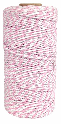 Just Artifacts ECO Bakers Twine 110yd 12Ply Striped Light Pink - Decorative Bakers Twine for DIY Crafts and Gift (Baker Light)