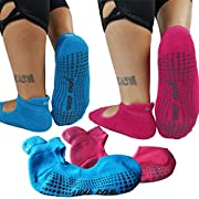 Yoga Socks for Women - Barre Pilates Ballet Grip Cotton non slip skid 2 Pack
