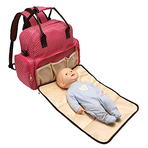 BOSHIHO® Todo en Uno Bolso de maternidad de lunares Viaje Bolsa De Pañales Cambiador Mommy Bolsa negro negro Talla:13.38 * 4.72 * 13.38 inch ( L * W * H ) negro