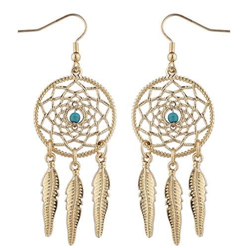 Lux Accessories Gold Tone Boho Navajo Faux Turq Dream Catcher Dangle Earrings ()