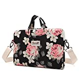 Canvaslife Rose Patten Canvas Laptop Shoulder Messenger Bag Case Sleeve for 11 Inch 12 Inch 13 Inch Laptop and Macbook Air Pro 11 /12/ 13